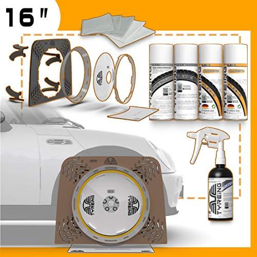 """TYREING Fixi Starter Set H17 16\"""" OrangeStyle – Maskierung Einer Reifen Seitenwand der Größe 205/80 R16 Höhe der Ringfarbe von ca. 17mm, 4er Set Dosen zur Colorierung, Flex-Cleaner, 2 Mikrofasertücher"""