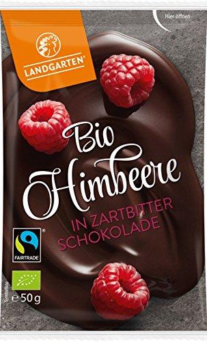 Landgarten Himbeeren in Zartbitterschokolade (50 g) - Bio