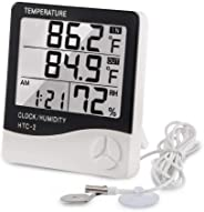Digital Thermometer Hygrometer Indoor Outdoor Temperature Meter Humidity Monitor with LCD Alarm Clock, 3M Probe Cord For Bed