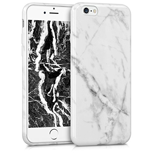 kwmobile Hülle für Apple iPhone 6 / 6S - TPU Silikon Backcover Case Handy Schutzhülle - Cover Marmor Design Schwarz Weiß Marmor Weiß Schwarz