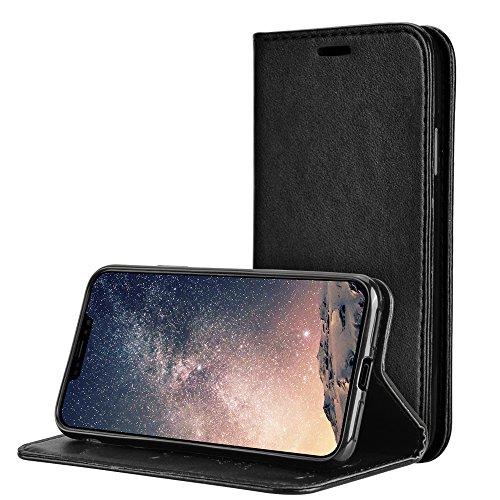 Funda para iPhone X/iPhone 10, Olycism Multi-Functional PU Leather Flip Wallet Case Cover con Ranura de Tarjeta Cierre Magnético y función de soporte(Negro)