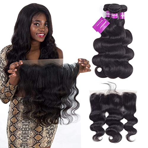AliBarbara Body Wave Bundles with Frontal 13×4 Brazilian Hair with Frontal 8A Ear to Ear Lace Frontal Closure with Bundles Human Hair (18 20 22 & Closure 16)