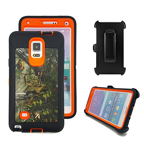 Galaxy Note 4 Fall, harsel Defender Series Heavy Duty Camo Tough Rugged Impact Armor Hybrid Military mit Gürtelclip Integrierter Displayschutzfolie Schutzhülle für Galaxy Note 4, Forest/Orange