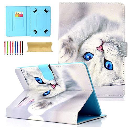 Universal Tablet-Schutzhülle mit Standfunktion für Amazon, Samsung, GoTab, RCA 03 White Cat for 9-10 inch Tablet (Kinder Zoll Tablet 6 Tasche Für)