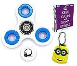 Primero Fidget Spin ansiedad Atención Toy juguete con BONUS eBook (correo electrónico) + Minion clave de la cadena - perfecto para ADD, ADHD alivia el estrés, el autismo y la ansiedad y la relajación para niños y adultos BONUS EBOOK se envía por correo electrónico