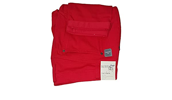 e35e99fafc8 Terra   Sky Red Rover Plus Size Generous Fit Capri Jegging - Red -  24W 26W 3X  Amazon.co.uk  Clothing