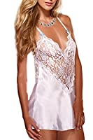 Women's Sleeveless Deep V-Neck Split Lace Patchwork Sheer Transparent Backless Criss Cross Back Babydoll Chemises Dress Nightgowns White XS