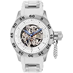 Rougois Automatic Skeleton Dial Naval Diver Watch with White Band