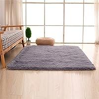 Teppiche, CAMAL Rechteck Waschbarer Seide Wolle Material Teppich für Wohnzimmer und Schlafzimmer (120cmX160cm, Grau)
