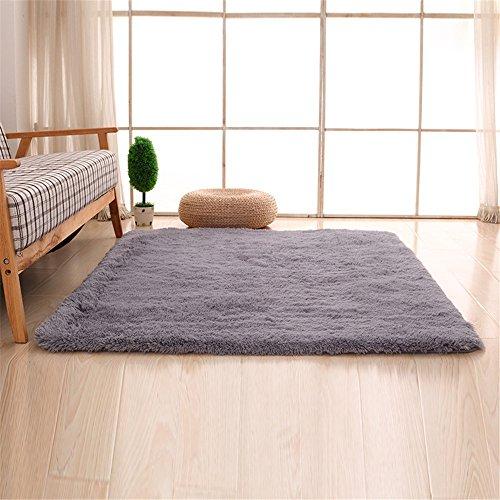 Alfombras, CAMAL Lavable Material de Lana de Seda Artificial Alfombra Decorativo Sala de Estar y Dormitorio (80cmX120cm, Gris)