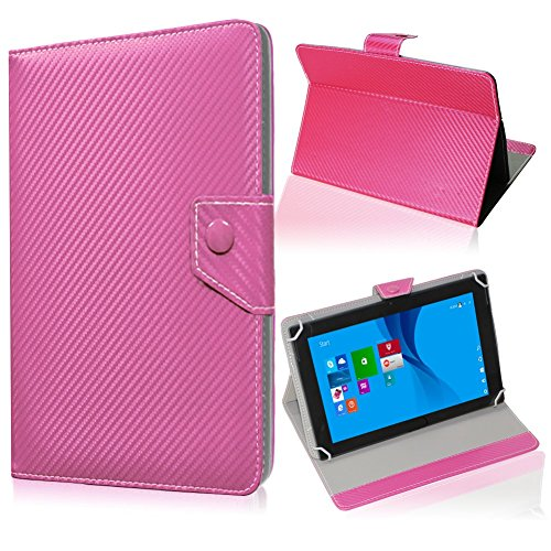 UC-Express Tablet Tasche für Blaupunkt Endeavour 101M Hülle Schutzhülle Carbon Case Cover, Farben:Pink