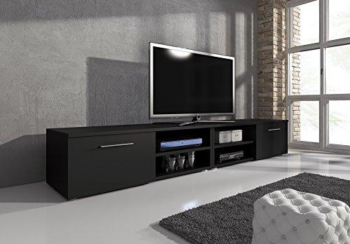 TV Möbel Lowboard TV-Element TV Schrank TV-Ständer Entertainment Vegas Schwarz Matt 240 cm (Tv-ständer Entertainment-möbel)