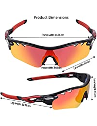 Yomeni polarisées Sports Lunettes de soleil TR90incassable Cadre, pour homme femme Course à Pied à vélo Conduite Pêche Golf Baseball, noir/rouge
