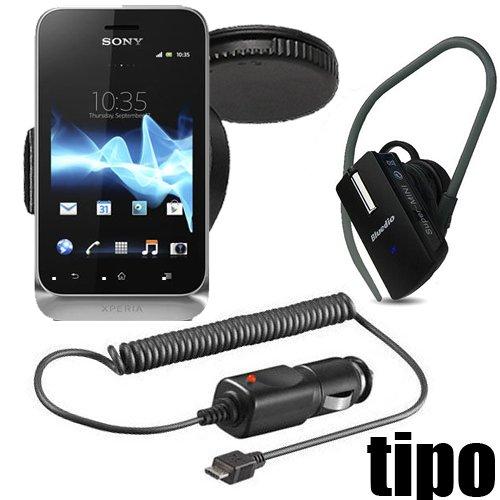 Original q1 Starter Set 3in1 für in Sony Ericsson Xperia Tipo Dual Halter KFZ Halterung 360 grad drehbar Halter Autohalterung + Bluetooth Headset + Kfz Ladekabel