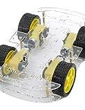 K-NVFA Dual-Layer-4-Motor intelligenten Auto-Chassis w / Geschwindigkeitsmesscodescheibe - schwarz + gelb #-254