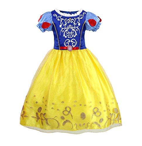 AmzBarley Costume da principessa Biancaneve per bambine Costume per bambini Halloween Festa Vestire 5-6 Anni