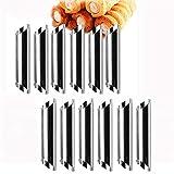 12 tubos de acero inoxidable de Cannoli para panqueques, crema, molde para horno, molde de croissant DIY solenoide, ánodo en espiral, molde para hornear pan, tubos de cannoli
