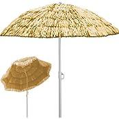Sonnenschirm Hawaii Sonnenschutz Ø 160 cm Gartenschirm Neigefunktion Höhenverstellbar - Natur