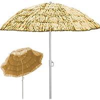 Sombrilla de playa Ø 160 cm Hawaii color natural con función de inclinación - altura: 180 cm
