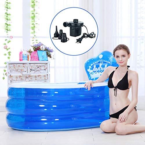 YANQING Bañera portátil Inflable Bañera para Adultos SPA Piscina Bañera Inflable PVC Baño SPA con Bomba de Aire eléctrica Adecuado para niños Niños, Bebés, Ancianos, Azul, Rosa (Color : Azul)