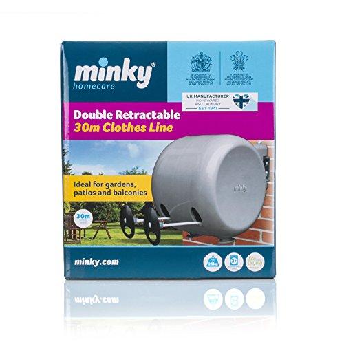 Minky ausziehbare Wäscheleine für Außen, 30 Meter (2x15m) - 2
