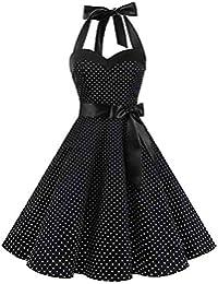 BaZhaHei Swing Vestito Donna Donne 1950 Audrey Hepbun Vintage Elegante  O-Collo Senza Maniche Abito b74173ba70c