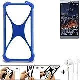 K-S-Trade Handyhülle für Switel eSmart M3 Bumper Schutzhülle Silikon Schutz Hülle Cover Case Silikoncase Silikonbumper TPU Softcase Smartphone, Blau (1x), Headphones
