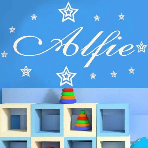 Adesivo da parete personalizzabile con nome o testo a piacere, decorazione murale, rif.: sZZ1, Black, (Windsor Testa)