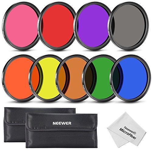Neewer 67MM 9 Stück Vollfarbiger ND Filter Set für Kamera Objektiv mit 67MM Gewindegröße Rot Orange Blau Gelb Grün Braun Lila Rosa und Grau ND Filter, Tragetasche und Microfaser Reinigungstuch