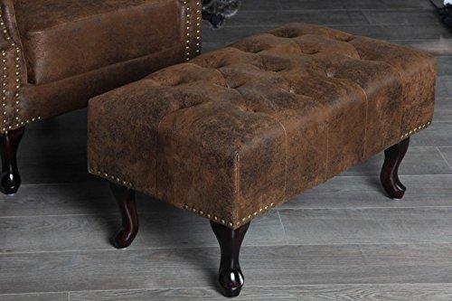 DuNord Design Taburete reposapiés Chesterfield marrón envejecido. Di