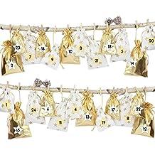 24 Adventskalender Stoffsäckchen zum Befüllen - mit Bäkergarn und Klammern - Stoffbeutel zum selber Dekorieren - Geschenksäckchen von Papierdrachen