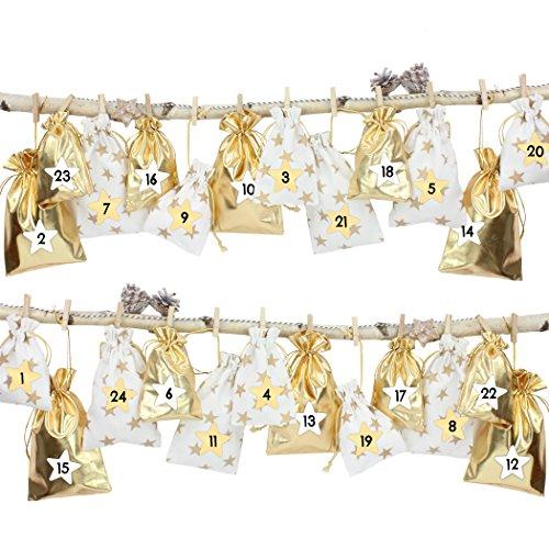 24 calendriers de l'Avent, sachets en tissu à remplir - avec de la ficelle de boulanger et les supports de bois - pour l'auto décoration - blanc avec des étoiles d'or