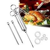 Edelstahl Würze Injektor Marinierspritze und 3 Würze Nadeln Spritze Marinaden für Rindfleisch, Steak, Türkei