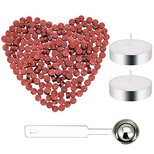 FAVENGO 200 Stück Siegelwachs Perlen Wachs Siegel Siegellack mit 2 Stücke Kerzen und 1 Stück Schmelzen Löffel für Stempel Umschlag Versiegelung(weinrot)