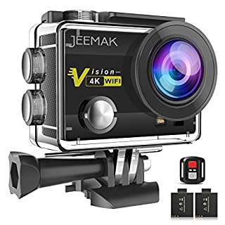 JEEMAK 4K Action Camera 16MP WiFi Underwater 30M with Remote Control 2 Rechargeable Batteries Mounting Accessories Kit