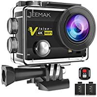 JEEMAK 4K Sports Action Camera 16MP WiFi Waterproof Cam with 2.4G Remote Control 170° Wide Angle 2.0'' LCD Screen 2 Rechargeable Batteries