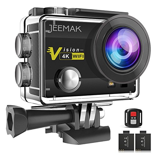 JEEMAK 4K Sports Action Camera 16MP WiFi Waterproof Cam with 2.4G Remote Control 170° Wide Angle 2.0'' LCD Screen 2 Rechargeable Batteries Compatible with Gopro Camera