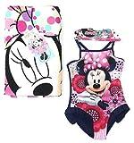 New Import Minnie Mouse Costume da Bagno Bambina + Telo Mare Piscina Microfibra (5 Anni)
