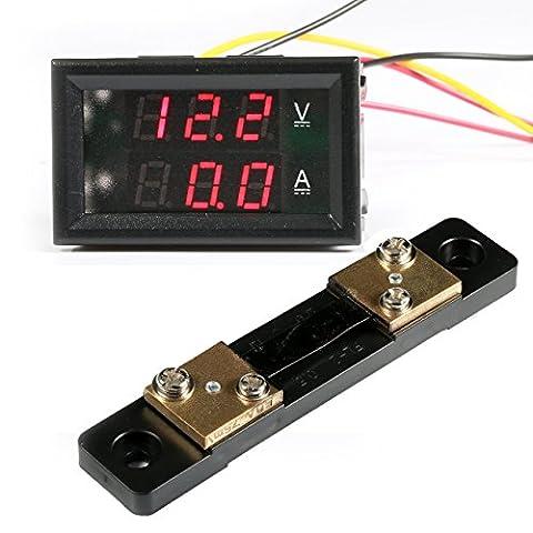 Geree 0-100 V/5 A Digital DC VA AMP Volt Amperemeter Voltmeter Ampere 2 in1 Spannung Strom Tester, Farbe Rot