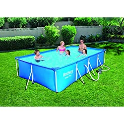 Bestway - Piscine hors sol rectangulaire bleue Steel Pro 400 x 211 x 81 cm avec pompe de filtration à cartouche