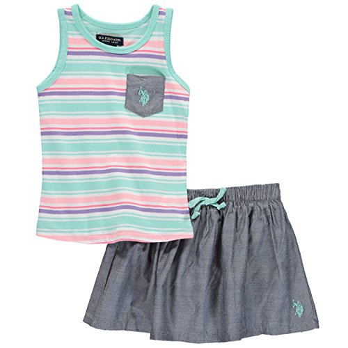 U.S. Polo Assn. US Polo Association Baby Girls' Stripe Bow Skort Set (24 Months, Mint Stripe) (Stripe Girls Polo)