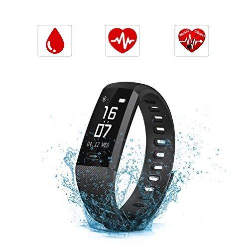 SAVFY Montre Connectée Cardio Bracelet Connecté Sport Fitness Tracker Activité Étanche IP67 Podomètre Calories Bluetooth 4.0 Bracelet d'Activité pour Femme Homme/iPhone et Android - Noir