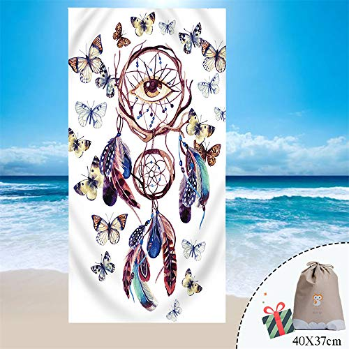 Fansu Toalla de Playa Microfibra Absorción, Rectangular Multi-Funcional para Toalla Baño Mantel Nadar Deportes Viajes Decoración, Atrapasueños, Azul Marino, Plumas, Ojos, Mariposas (150 * 180cm,N)