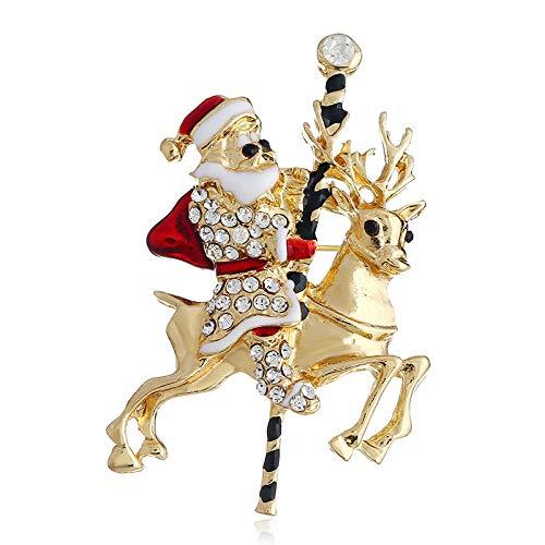 hen Weihnachtsbrosche Santa Elk Brooch Brosche Christmas Ornament Neujahrsgeschenk ()