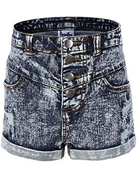 Bienzoe Verano alta cintura agujeros Ripped Jean cortocircuitos para niña grande