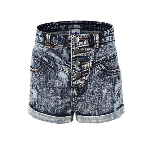 Bienzoe Mädchen Sommer weiche Hohe Taille Löcher Gerissen Dehnbar Jeans Shorts Größe 9