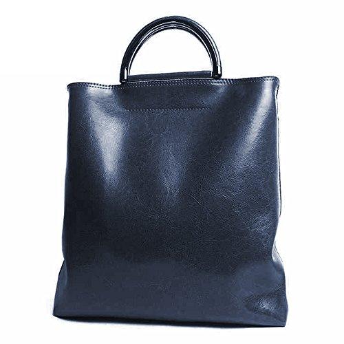 Leathario Borsa donna pelle vera tracolla nero spalla eleganti lavoro  vintage cuoio fashion borsone sacca shopping 1bfa21dc903