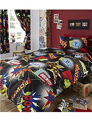 Single Bed COMIC Duvet / Quilt Cover Bedding Set, Comic Book Strip Black White Red Yellow Blue produced by Harwood Textiles - quick delivery from UK.