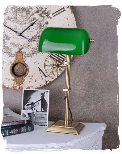 Antike Banker Lampe (Hohe Bibliothekslampe/Schreibtischlampe/Banker-Lampe/Banker-Leuchte/Pultleuchte, echter Klassiker im Jugendstil mit grünem Glas - Palazzo Exclusive)