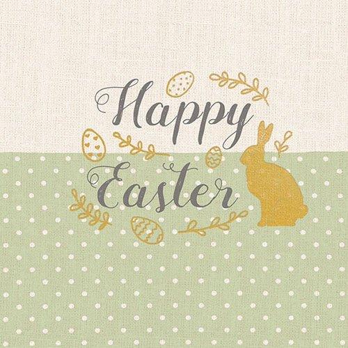 Ambiente Tovaglioli di Pasqua–Happy Easter, ricamo verde, tovaglioli di carta a strati, 33x 33cm